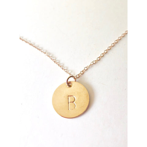 Large Initial Disc Necklace - Deluxur Jewelry