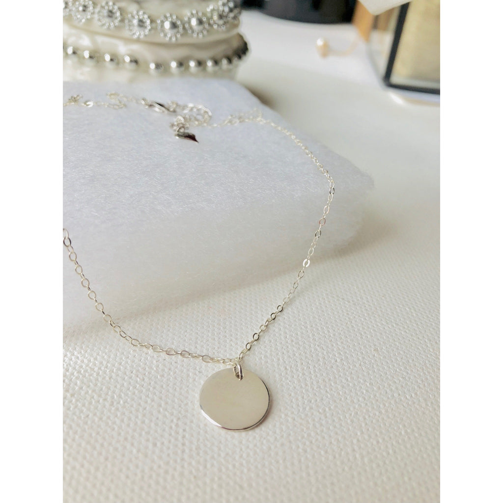 Ella Silver Disc Necklace-Deluxur