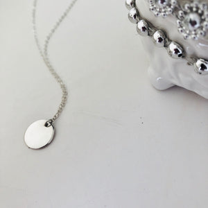 "(Wholesale) 16"" Silver Disc Necklace - Deluxur Jewellery"