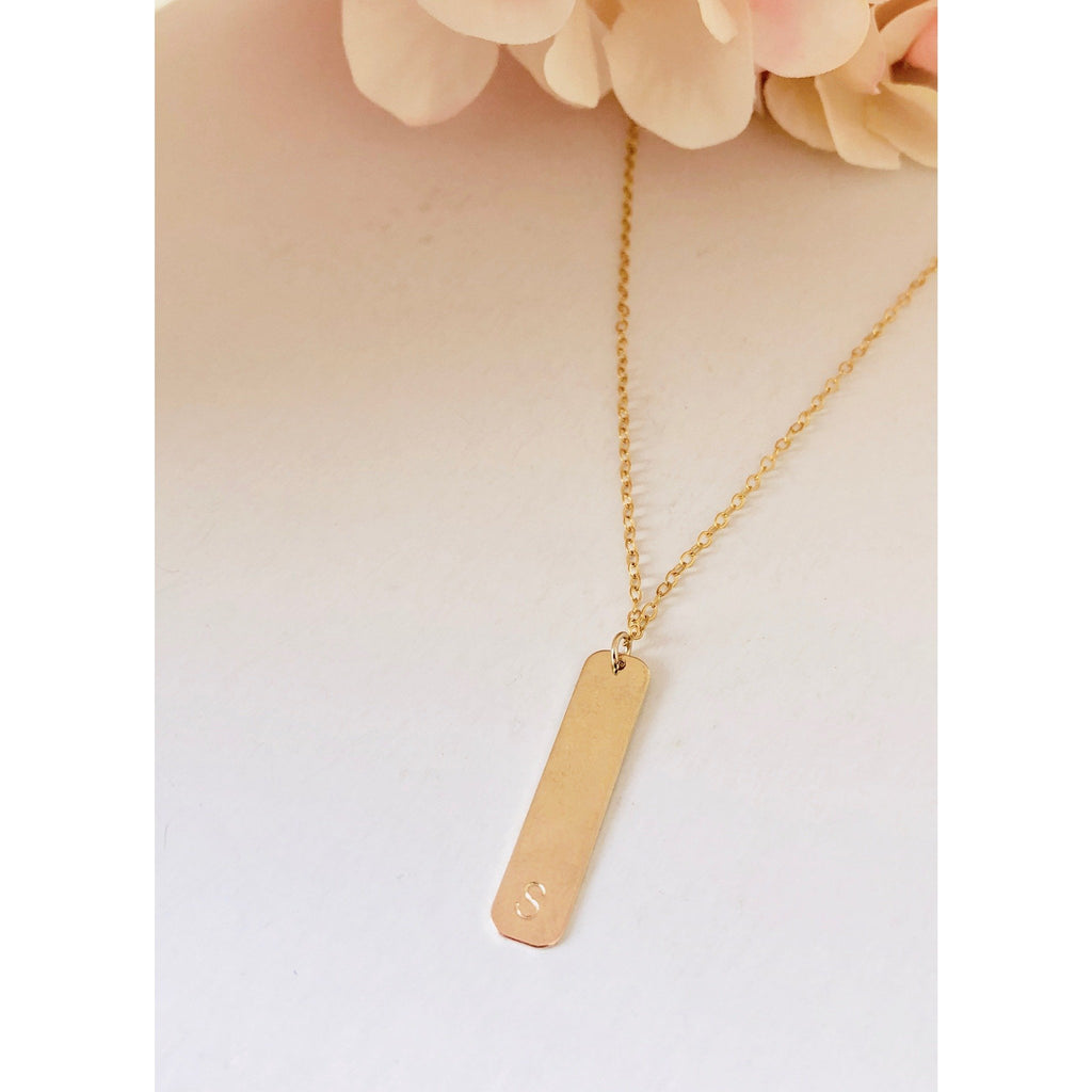 Vertical Initial Bar Necklace-Deluxur