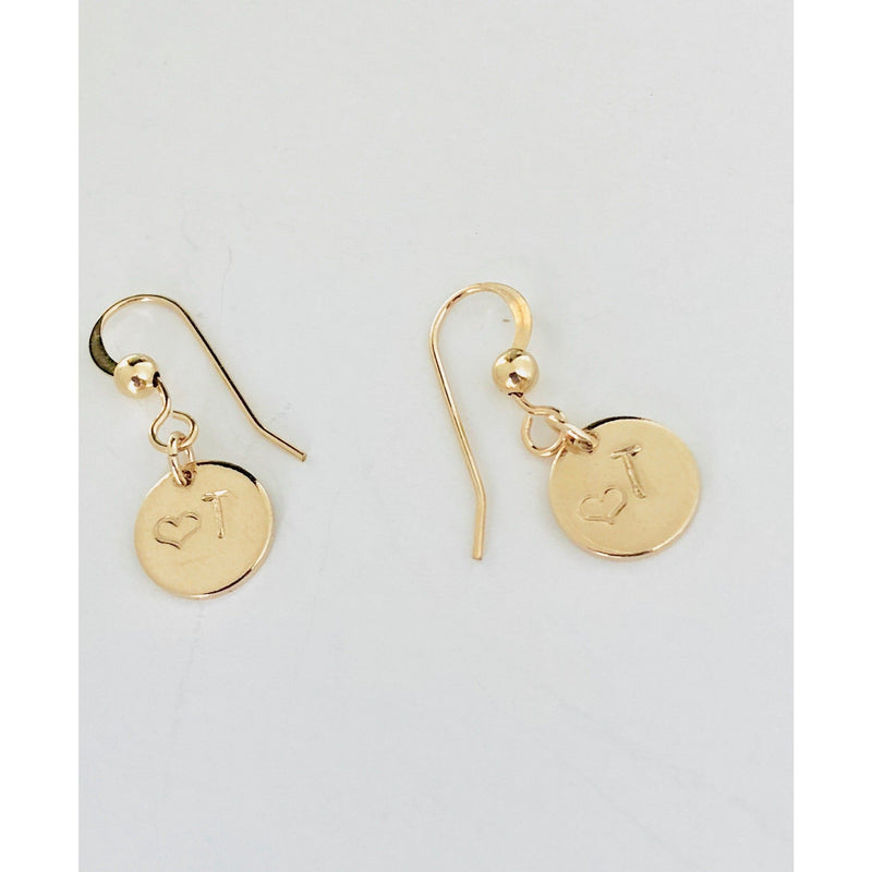 Mia - Initial Disc Earrings-Deluxur