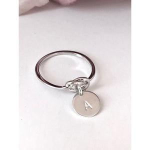Mila Silver Love Knot and Disc Ring-Deluxur