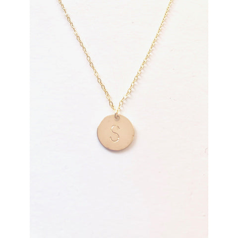 Gold Initial Disc Necklace - Deluxur Jewelry