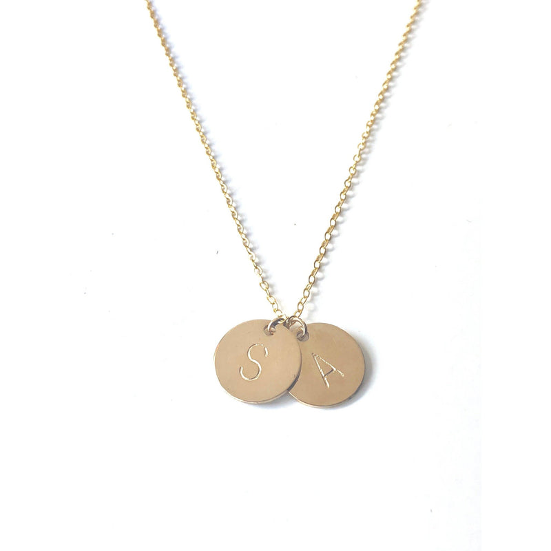 Gold 2 Discs Necklace - Deluxur Jewellery