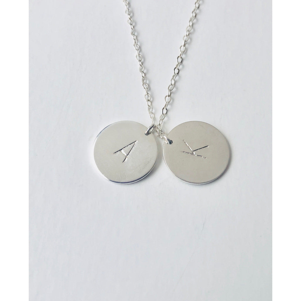 "(Wholesale) 15"" Silver 2 Initial Discs Necklace - Deluxur Jewellery"