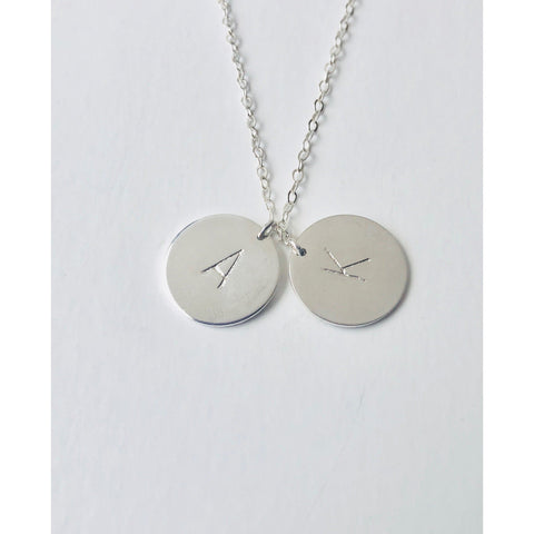 "(Wholesale) 15"" Silver 2 Initial Discs Necklace - Deluxur Jewelry"
