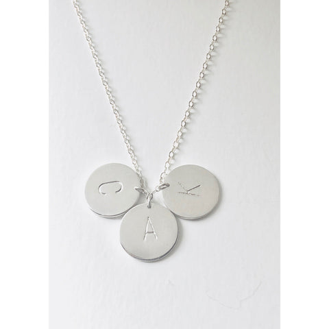 "(Wholesale) 15"" Silver 3 Initial Discs Necklace - Deluxur Jewelry"
