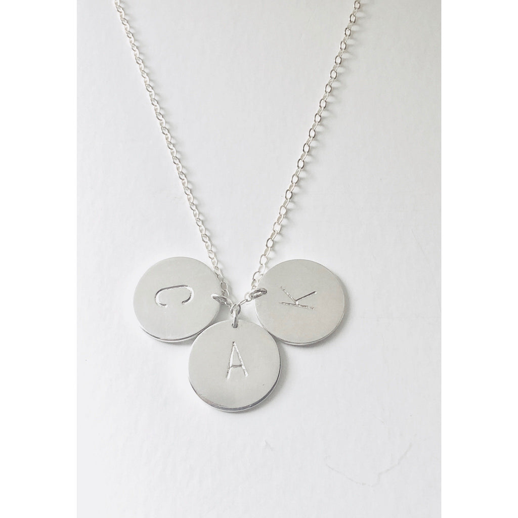 Silver 3 Initial Discs Necklace-Deluxur