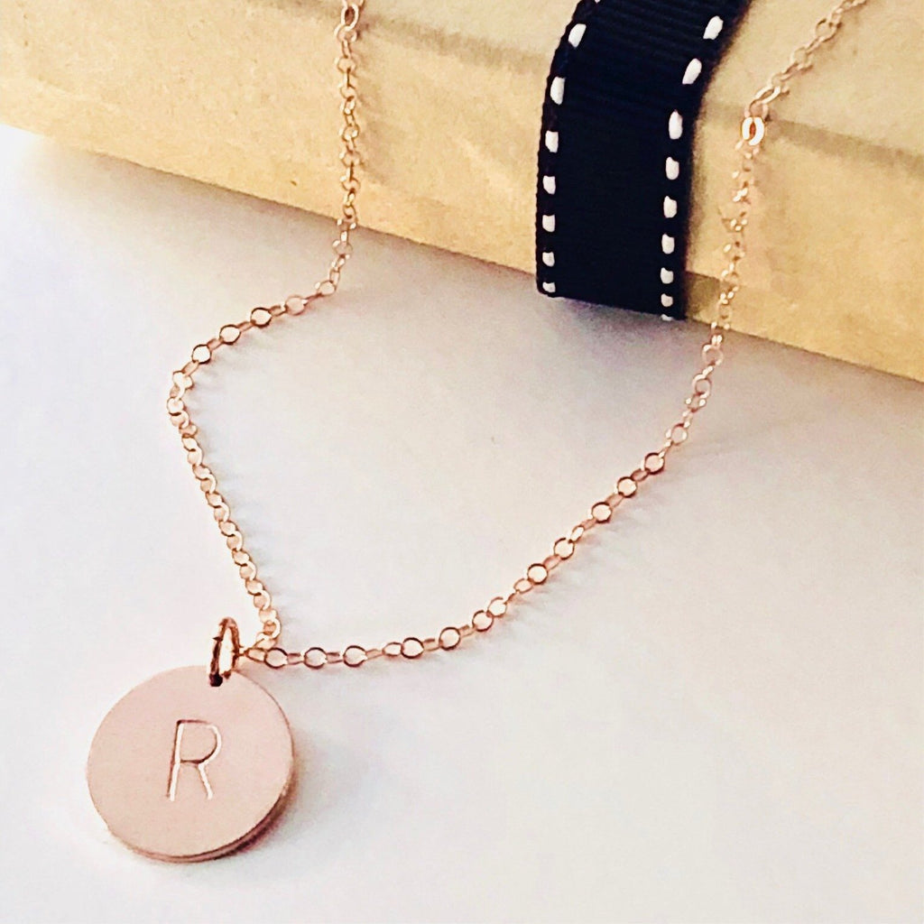 Zoe Rose Gold Initial Necklace-Deluxur