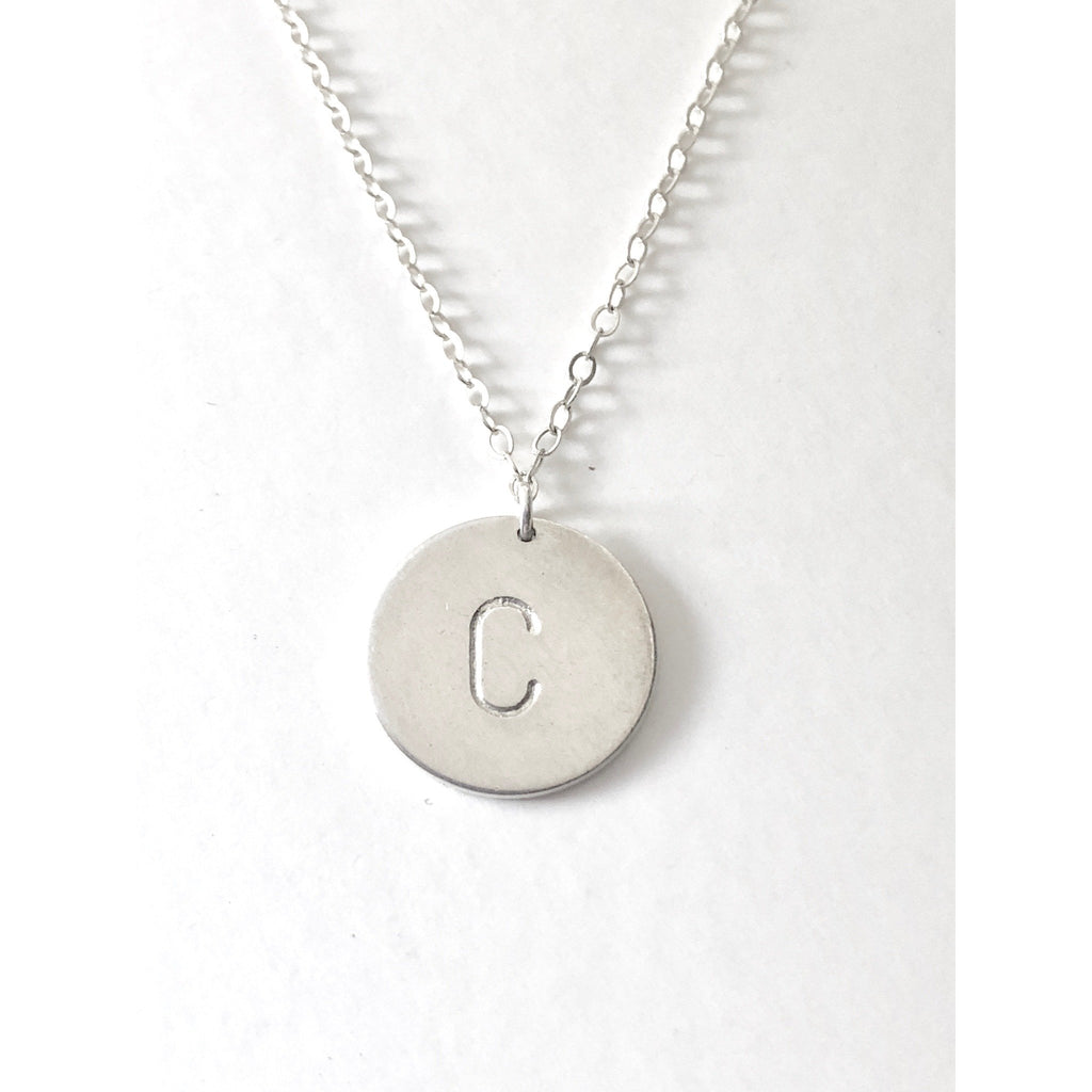 Nellie - Silver Initial Disc Necklace-Deluxur