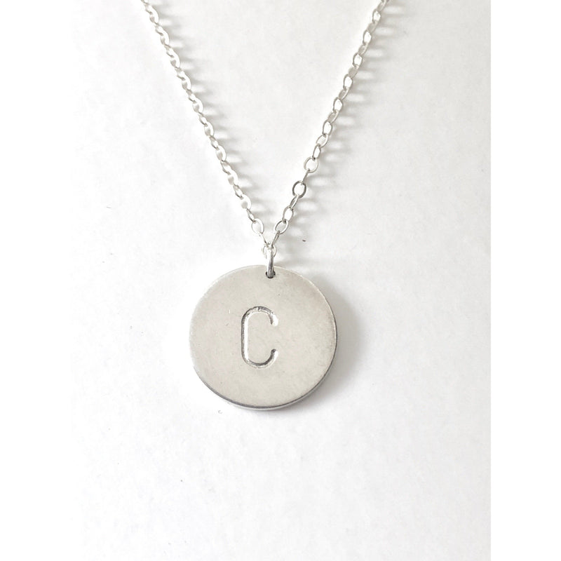Nellie - Silver Initial Disc Necklace - Deluxur Jewellery