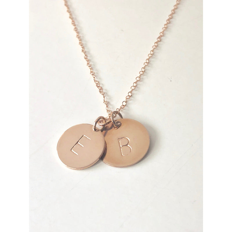 Rose Gold 2 Discs Necklace-Deluxur