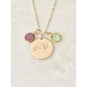 Personalised Birthstone Initial Necklace-Deluxur