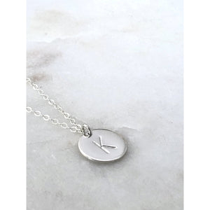 Nellie Silver Initial Disc Necklace-Deluxur