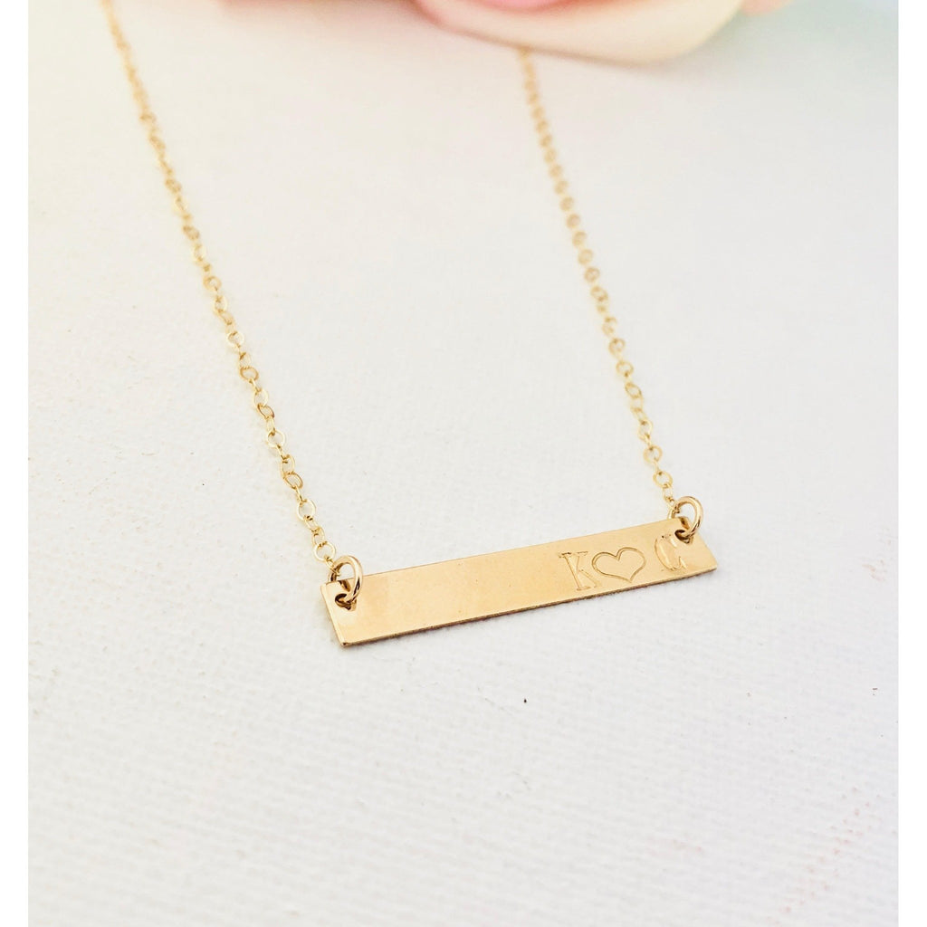 Double Initial Bar Necklace-Deluxur