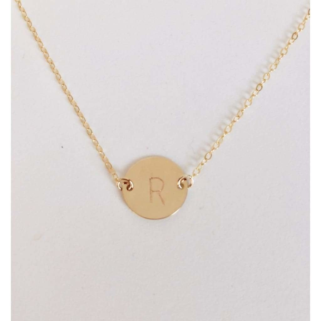 Dainty Initial Disc Necklace - Deluxur Jewellery