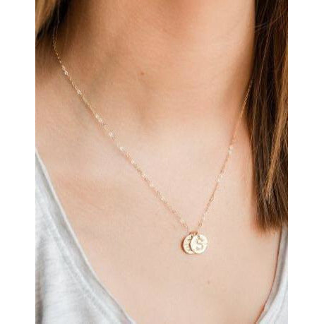Roxie Hammered Initial Necklaces-Deluxur