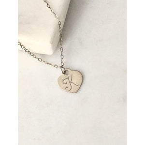 Mary Initial Heart Necklace-Deluxur