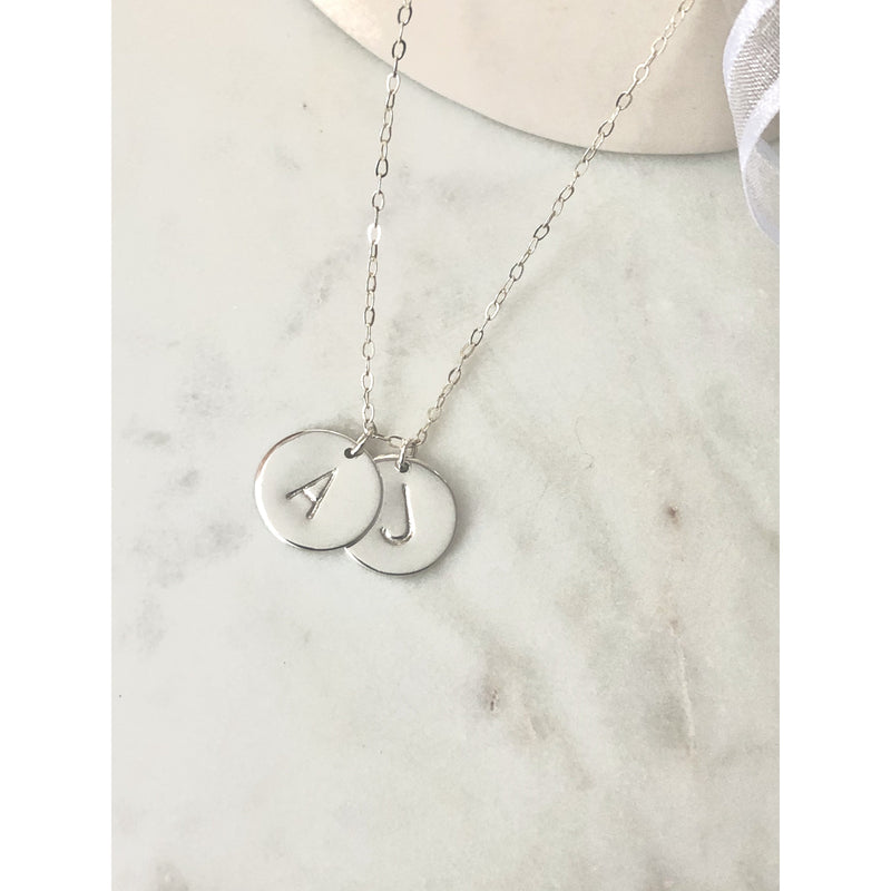 Silver 2 Initial Discs Necklace-Deluxur
