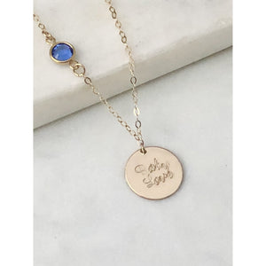 Personalised Birthstone Chain and Disc Necklace-Deluxur