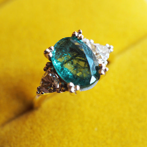 Seaweed Emerald and Moissanite Ring