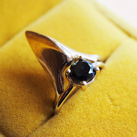 Pheasant Beak & Black Spinel Ring Stack