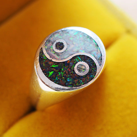 Yin Yang Opal Inlay Ring
