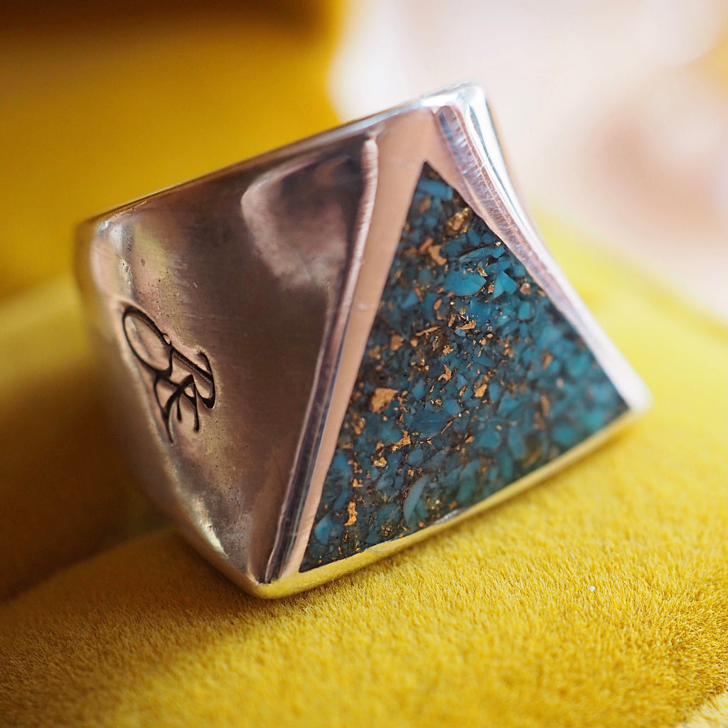 Turquoise Inlay Triangle Signet