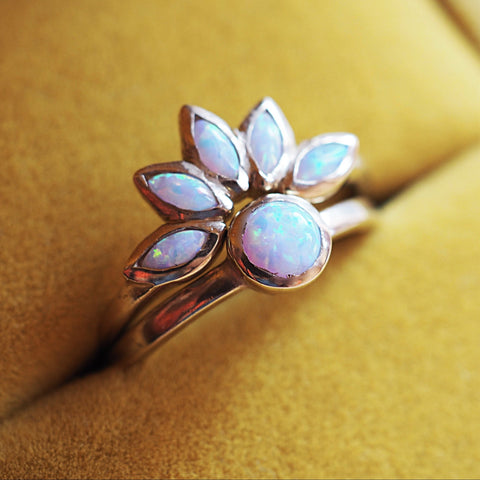 White Opal Flower Ring Set