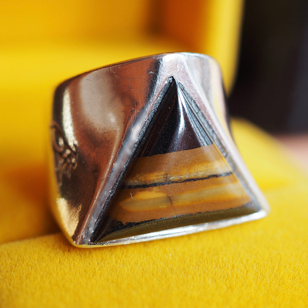 Tigers Eye Triangle Signet