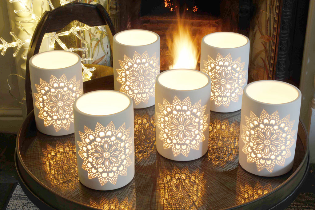 Six Lacework Ceramic Lanterns