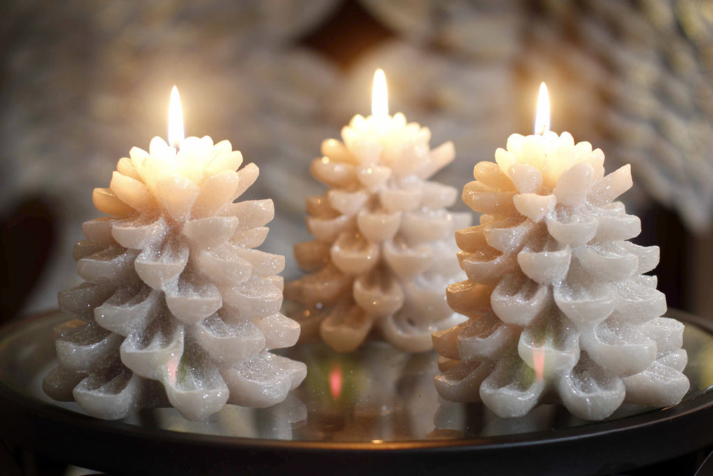 Three Glitter Pinecone Candles