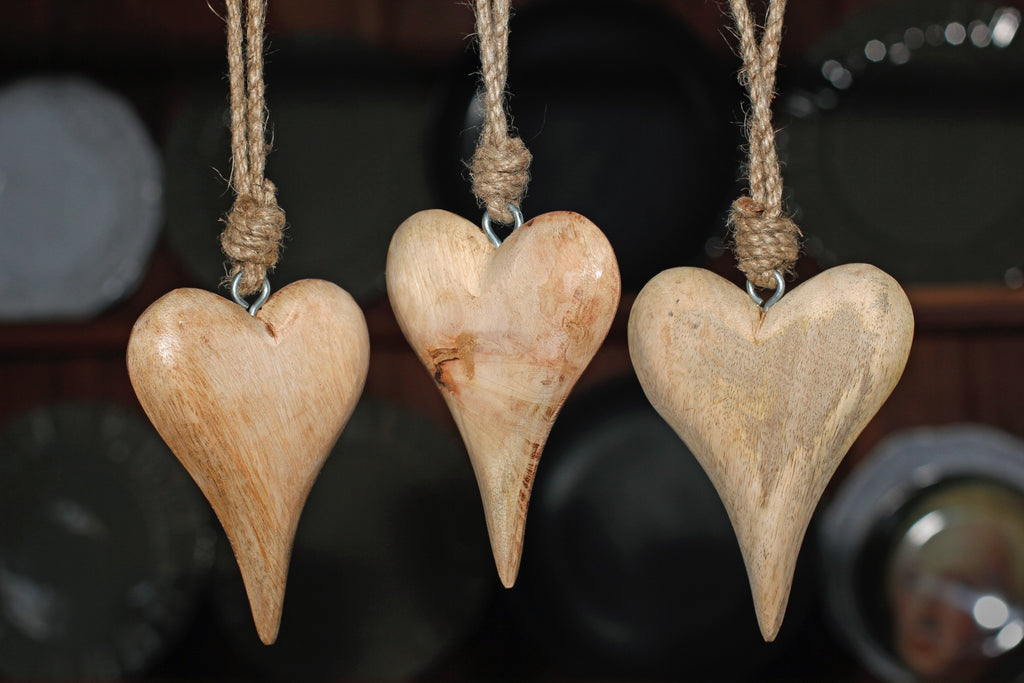 Three Timber Love Hearts