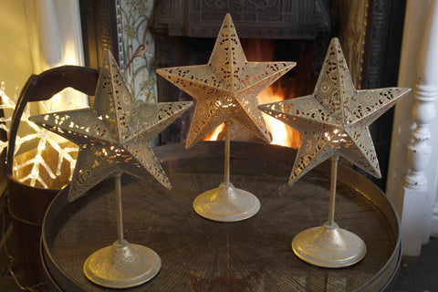 Three Metal Star Candle Stands