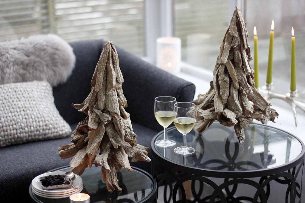 Pair of Glittery Driftwood Trees