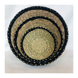 Seagrass Baskets Natural / Black, Set of Three