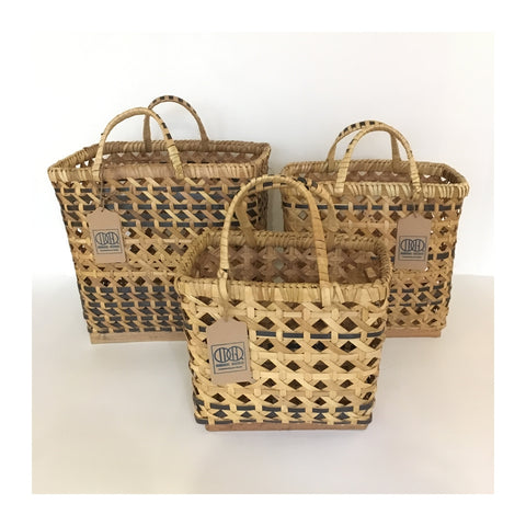 Hand Woven Palm Leaf & Recycled PP Band Basket