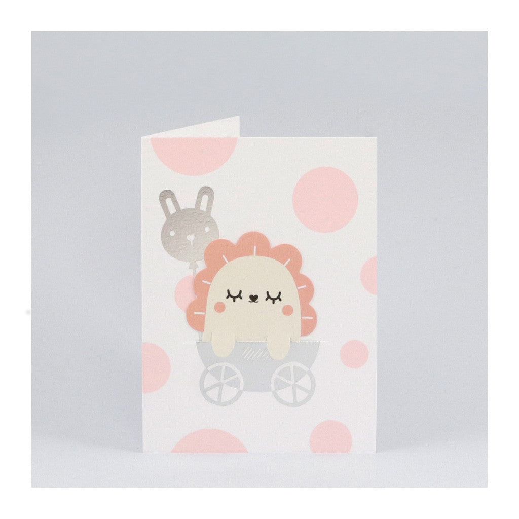 New baby congratulations card with pink dots and removable bookmark