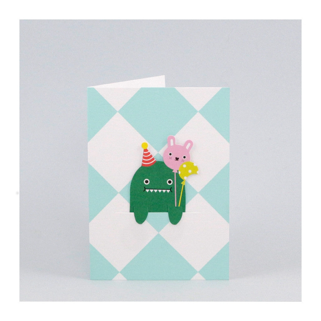 Birthday card with green and white diamond design and removable bookmark