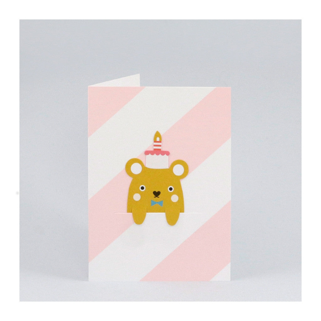 Birthday card with pink and white diagonal stripes and removable bookmark