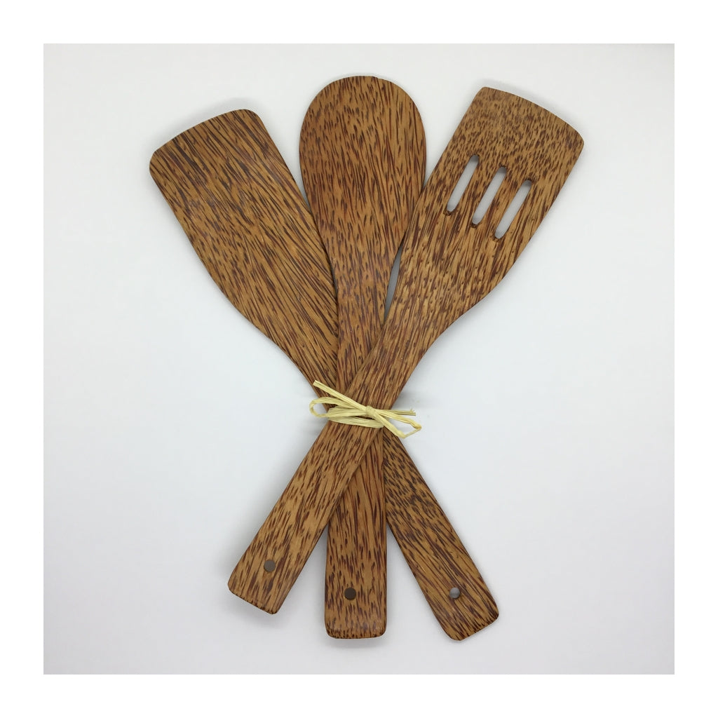 Coconut Wood Cooking Utensils, Set of Three