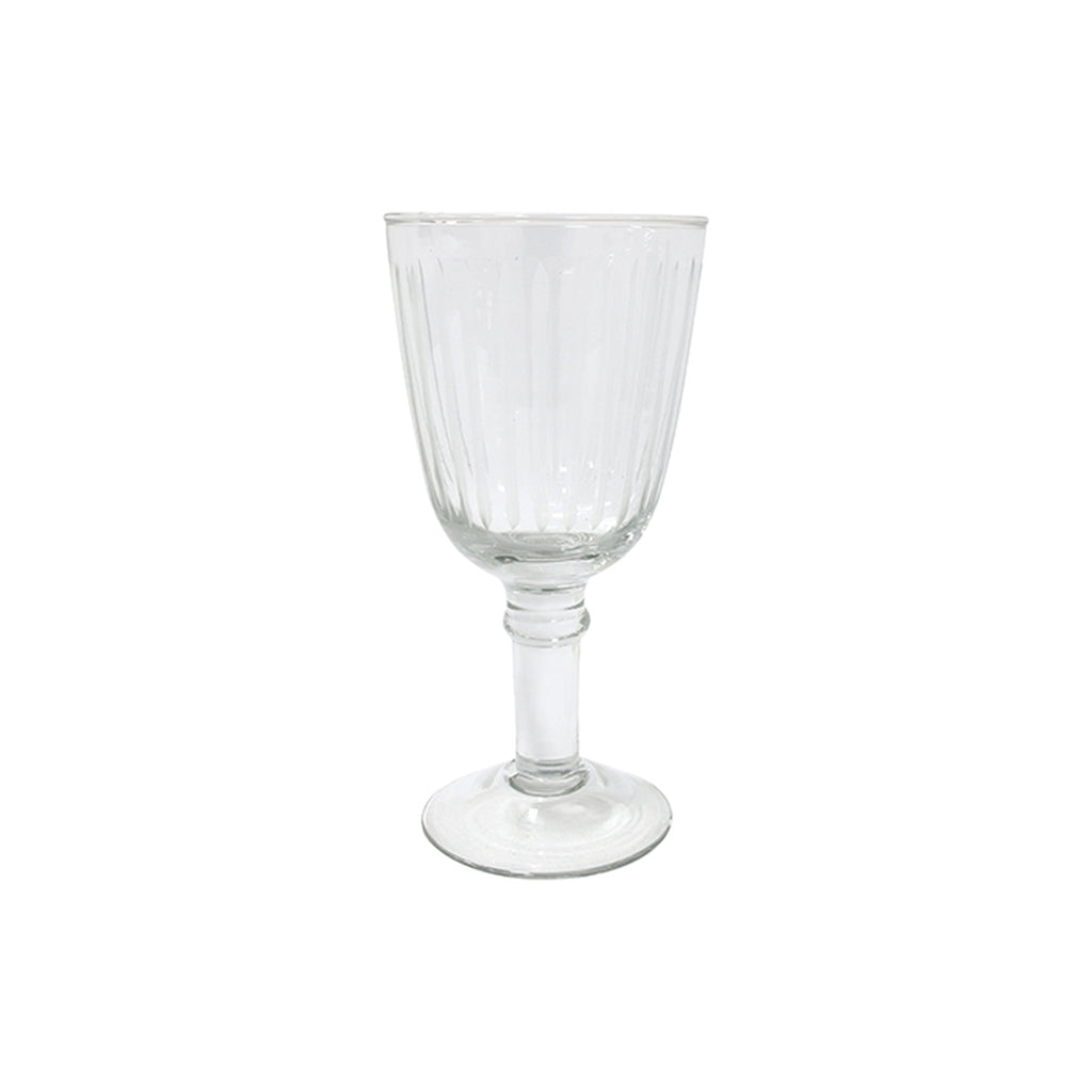 Hand-blown wineglass engraved with stripes
