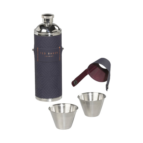 Ted Baker Hip Flask & Shot Cups Blue
