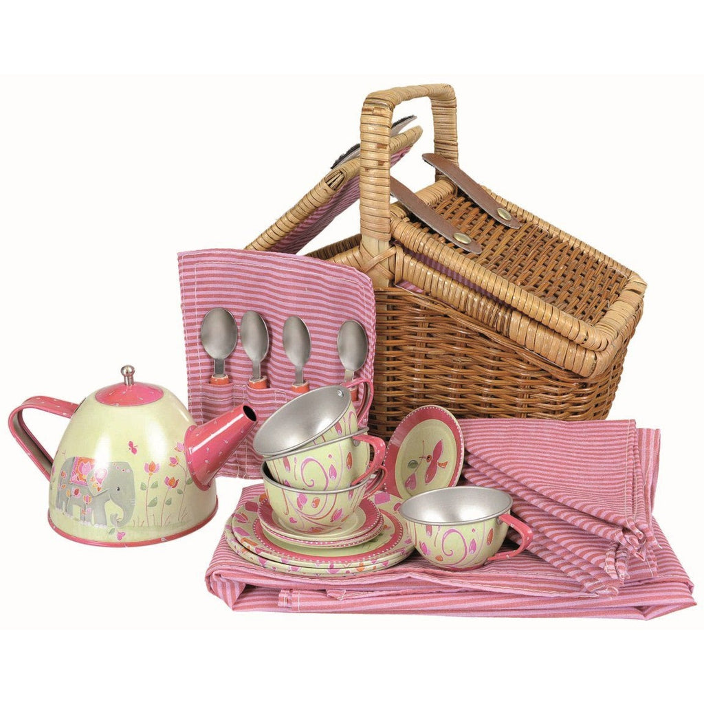 Tin tea set in wicker picnic basket
