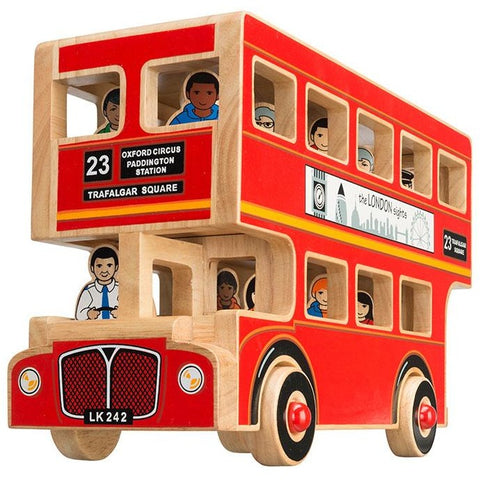 Wooden fair trade double decker London bus