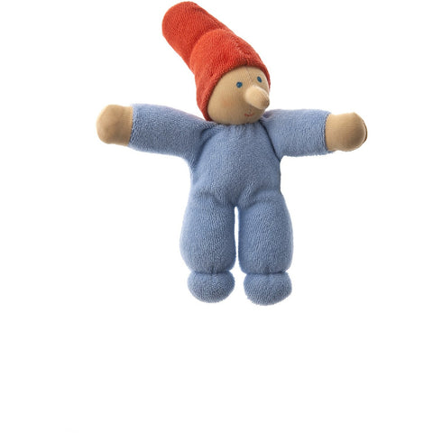 Blue Baby Gnome Waldorf Doll is hand made using only organic materials