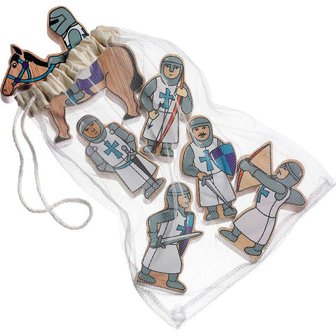Set of blue wooden knights