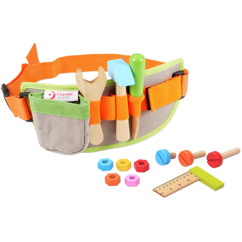 Wooden carpenters tool belt toy