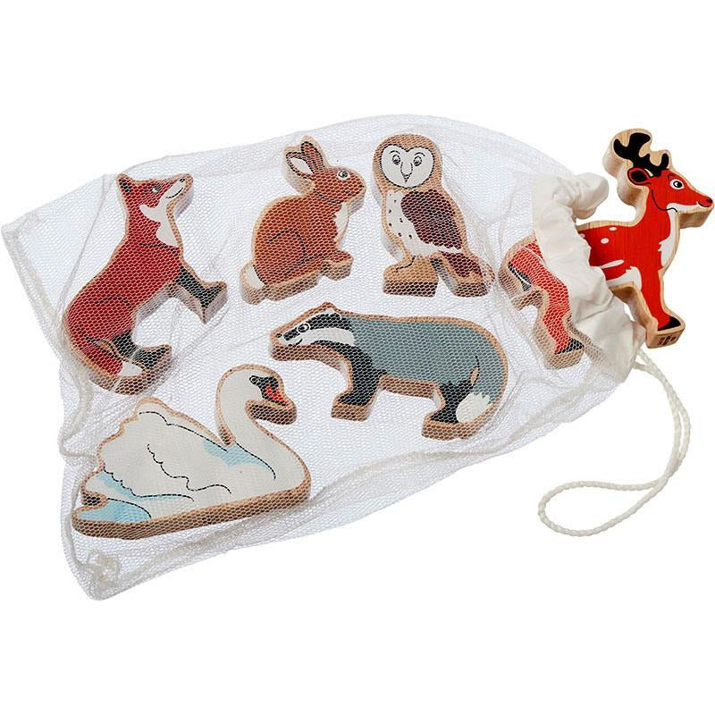 Fair trade wooden countryside animals in bag
