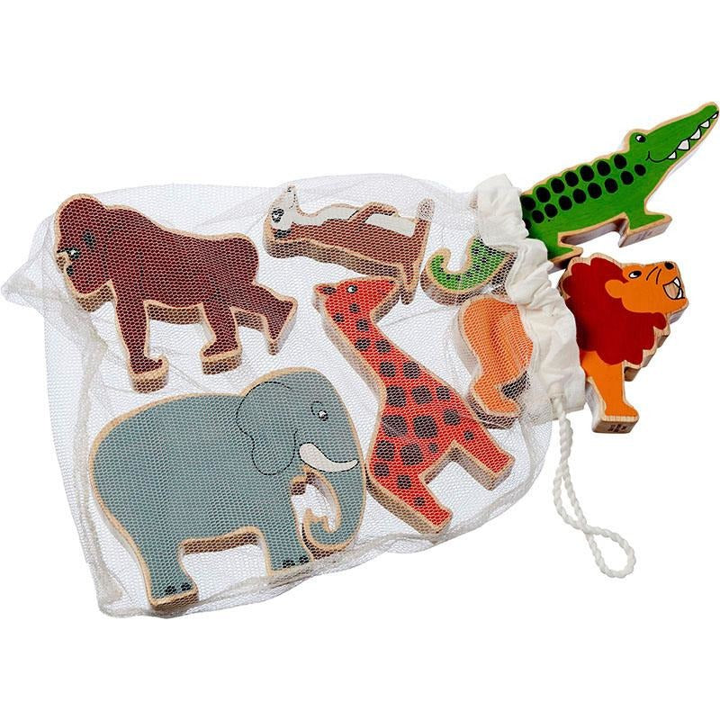 Fair trade wooden world animals in a bag including an elephant, a meercat, a giraffe, a gorilla, a lion and a crocodile